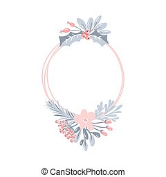 Vector geometric round frame with bouquet wreath. Christmas template for greeting card. Winter cones and pink flowers isolated on white background with place for text