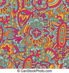 Vector geometric seamless abstract doodle ethnic painting