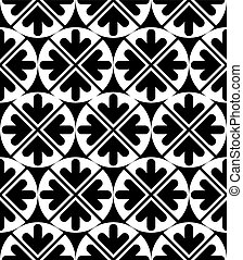 Vector geometric seamless pattern. Unusual black and white...