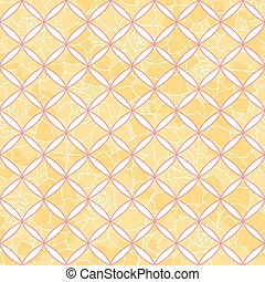 Vector geometric tile seamless pattern with yellow floral background