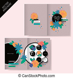 brochure design with flower and stripe