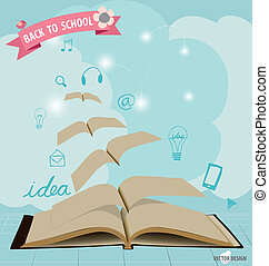 vector, geopend, vliegen, moderne, toepassing, boekjes , mal, pictogram, design., illustration.