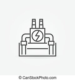 Vector geothermal power plant icon - vector outline minimal...