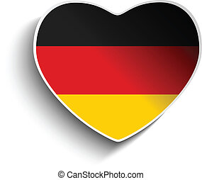 Germany Flag Heart Paper Sticker