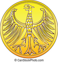 vector Germany Money gold coin with heraldic eagle