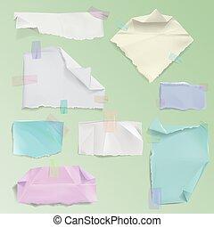 vector, gescheurd, illustratie, papier, kliek, pagina