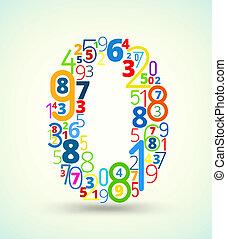 vector, getal, nul, gekleurde, lettertype, getallen
