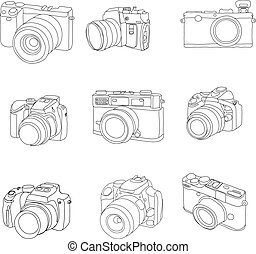 vector, getrokken, set, cameras, hand