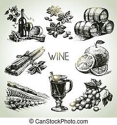 vector, getrokken, set, hand, wijntje