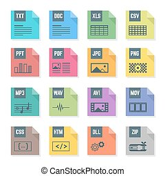 vector, gevarieerd, plat, ontwerp, gekleurde, bestand, formaten, iconen, met, symbolen, illustraties, witte achtergrond