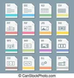 vector, gevarieerd, plat, stijl, licht, kleuren, bestand, formaten, iconen, met, symbolen