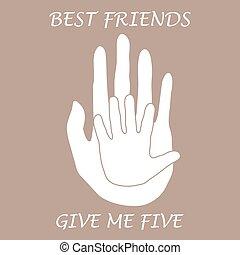 vector, geven, volwassene, schattig, kind, handen, vrienden, five., illustratie, forever., twee