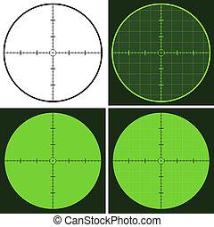 vector, geweer, in het oog krijgen, crosshair