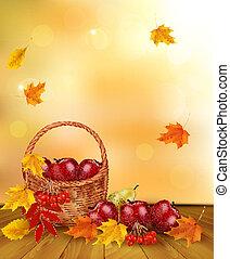vector, gezonde , illustratie, voedsel., herfst, fruit, basket., achtergrond, fris