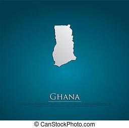 vector Ghana Map card paper