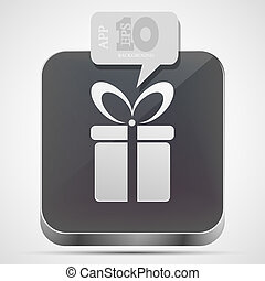 Vector gift app icon with gray bubble speech. Eps10