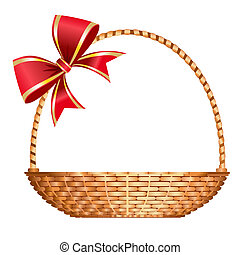 Vector illustration festive gift basket with red bow, isolate on white background, elements for easy editing, full scalable vector graphic included Eps v8 and 300 dpi JPG.