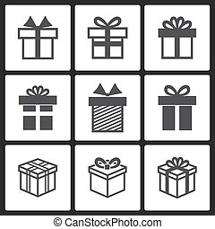Vector Gift box black icons