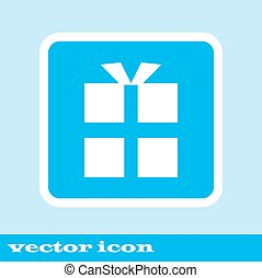 vector gift box icon. icon blue