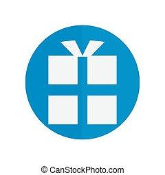 vector gift box icon. icon blue