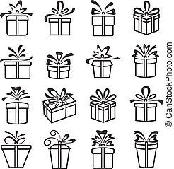 Vector Gift Box Icons, Holiday Presents