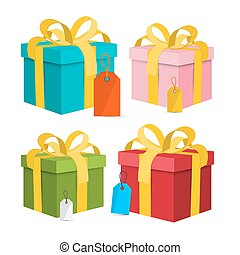 Vector Gift Box - Present Box Illustration. Gift Boxes with Bows and Empty Labels - Tags Isolated on White Background.