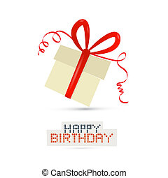Vector Gift Box, Present Box Isolated on White Background, Happy Birthday Theme
