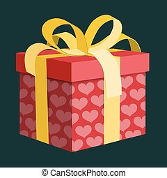 Vector Gift Box. Red Present Box with Pink Hearts and Gold Ribbon on Dark Background.
