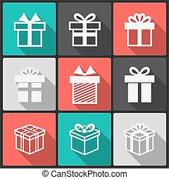 Vector Gift box white icons