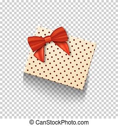 Vector Gift Box with Red Ribbon Isolated on Transparent Background