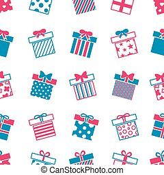 Vector gift boxes seamless pattern