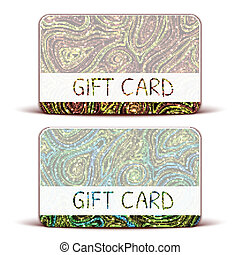 Vector Gift Card with brightly pattern on background.