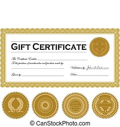Vector Gift Certificate Frame and Ornament Set