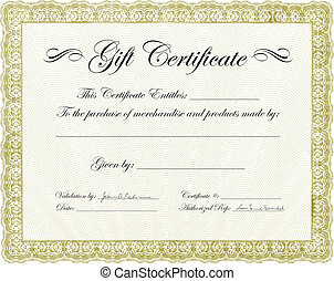 Vector Gift Certificate Frame - Vector ornate certificate...