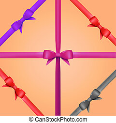 Vector Gift Ribbon with Bow Set