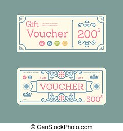 Vector gift voucher coupon template design. paper label frame vintage pattern style.