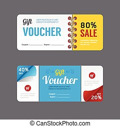 Vector gift voucher coupon template design. paper label...