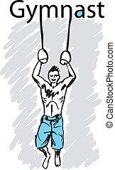 vector, gimnasia, rings., deporte, ilustración