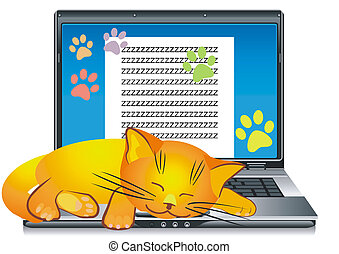 vector, ginger cat asleep on the keyboard open silver laptop...