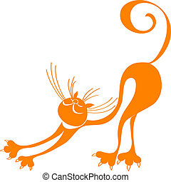 stylized silhouette red cat, which stretches, arching his back and raising his tail