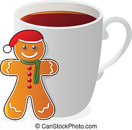vector gingerbread cookie santa and a cup of tea