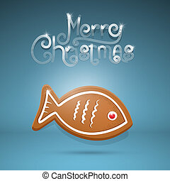 Vector gingerbread fish and Merry Christmas title on blue background