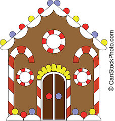 Gingerbread house color 02 - Vector. Gingerbread house color...