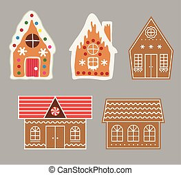 vector gingerbread house cookie set