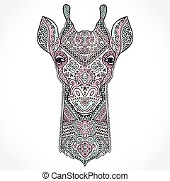 Vector giraffe with ethnic ornaments