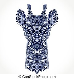 Vector giraffe with ethnic ornaments