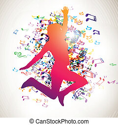 Vector Girl and Music Notes - Vector Illustration of a...