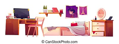 Vector girl bedroom interior set