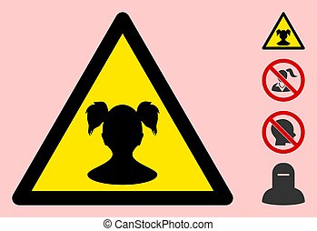 Vector Girl Child Warning Triangle Sign Icon - Vector girl ...