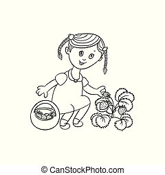 vector girl collecting strawberries into basket